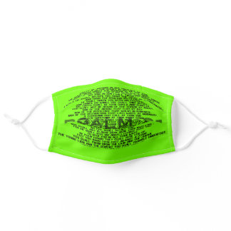 Psalm 91 Bright Colored Neon Green Christian Adult Cloth Face Mask