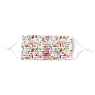 Psalm 91 Protection Cloth Face Mask Pink Flowers