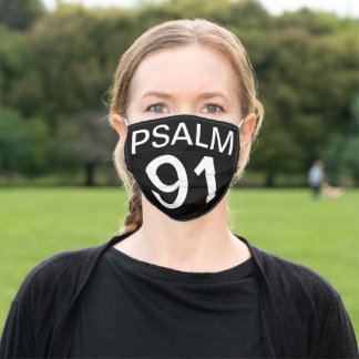 Psalm 91 Verse Typography Black Bible Scripture Adult Cloth Face Mask