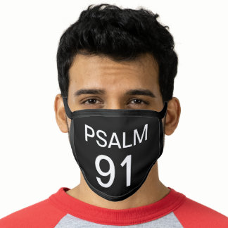 Psalm 91 Verse Typography Black Bible Scripture Face Mask