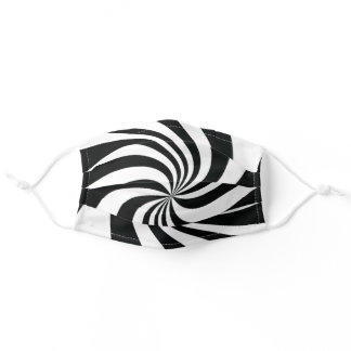 Psychedelic Black White Swirl Cool Trippy Pattern Adult Cloth Face Mask