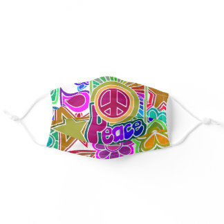 Psychedelic Hearts and Stars Art Cloth Face Mask