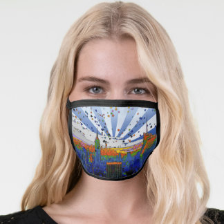 Psychedelic NYC: ESB Wide Skyline View Face Mask