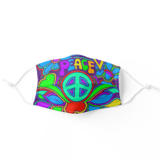 Psychedelic Peace Hippy Art Cloth Face Mask