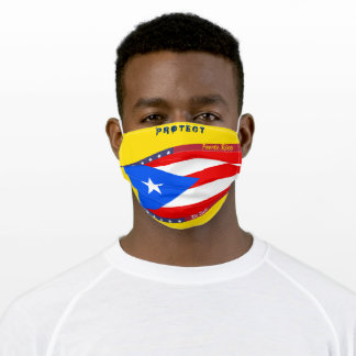 Puerto Rico Flag w/ Stars Stripes on Cool Grey Adult Cloth Face Mask