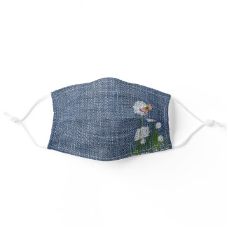 Puff Flowers on Denim  Adult Cloth Face Mask
