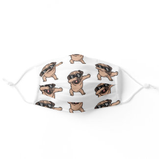 Pug Dabbing Dog With Shades Cute Funny Pug Lover Adult Cloth Face Mask