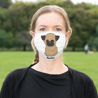 Pug Dog Cute Brown Black Personalize Adult Cloth Face Mask