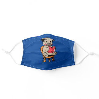 Pug reading book adult cloth face mask