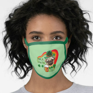 Pug St. Patricks Day Face Mask