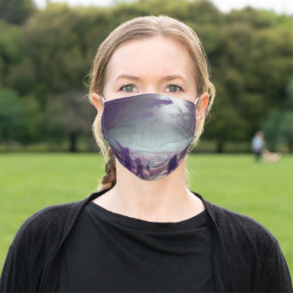 Pumpkin Patch Witches Flying Past Trick-Or-Treater Adult Cloth Face Mask