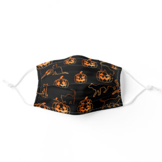 Pumpkins and Black Cats Pattern Adult Cloth Face Mask