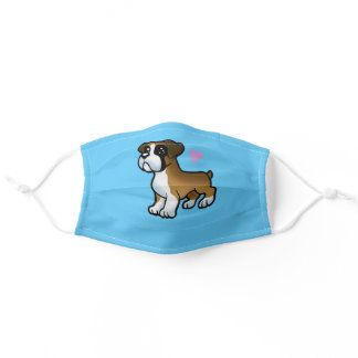 Puppy boxer heart cartoon adult cloth face mask