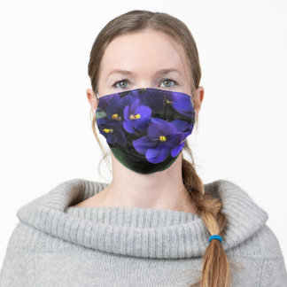 Purple African Violets Adult Cloth Face Mask