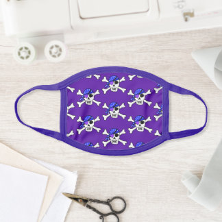 Purple and Blue Pirate Skulls Face Mask