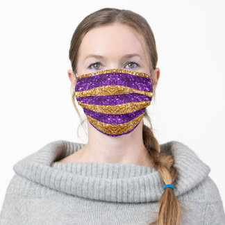 Purple and Gold Glitter Stripes Adult Cloth Face Mask