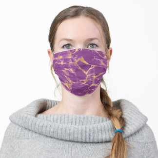 Purple and Gold Marble Monogram Adult Cloth Face Mask