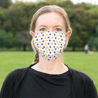 Purple and Gold Polka Dots Adult Cloth Face Mask