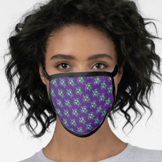 Purple and Green Nautical Sea Turtles Pattern Face Mask