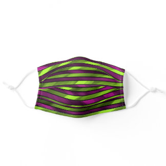 Purple and Neon Green Striped Adult Cloth Face Mask