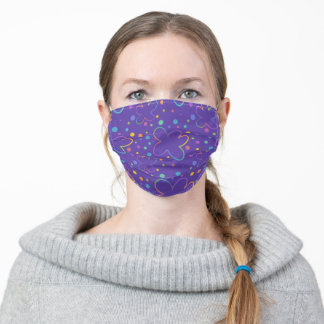 Purple and Rainbow Flowers Face Mask