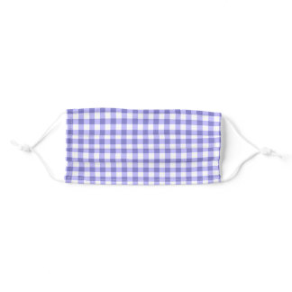 Purple And White Gingham Check Pattern Adult Cloth Face Mask
