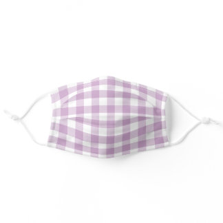 Purple and White Gingham Plaid Simple Pattern Adult Cloth Face Mask