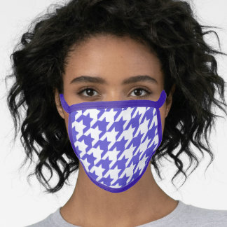 Purple and White Houndstooth Pattern Face Mask
