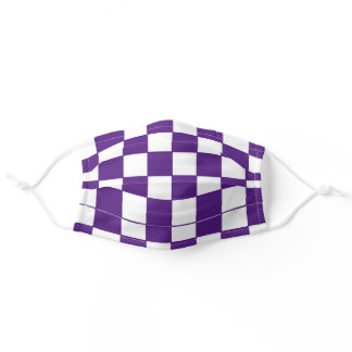 PURPLE AND WHITE RACING CHECKER ADULT CLOTH FACE MASK