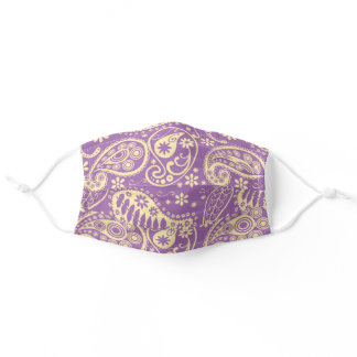 Purple and Yellow Floral Paisley Pattern Adult Cloth Face Mask