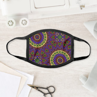 Purple and Yellow Modern Mandala Pattern Face Mask