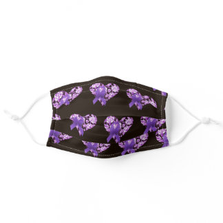 Purple Awareness Ribbon with Roses Adult Cloth Face Mask
