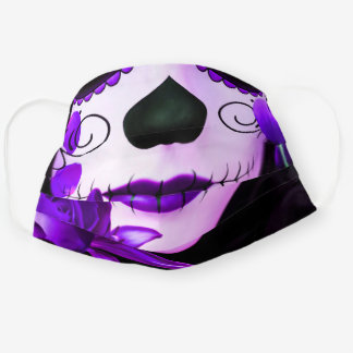 Purple Black Day of the Dead Halloween Floral Cloth Face Mask