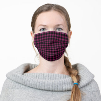 Purple Black Lumberjack Checkered Plaid Adult Cloth Face Mask
