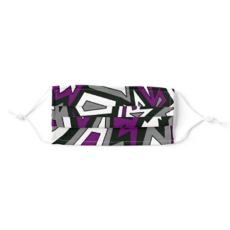 Purple Black White Gray Ace Geometric Abstract Adult Cloth Face Mask