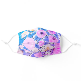 Purple Blue Floral Polka Dots Watercolor Safety Adult Cloth Face Mask