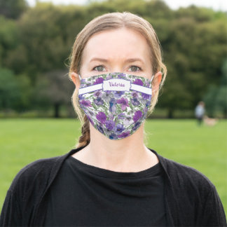 Purple Blue Watercolor Floral Frame Personalized Adult Cloth Face Mask
