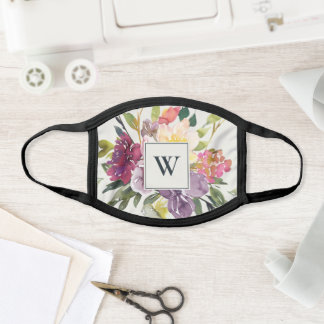 PURPLE BLUSH BURGUNDY FLORAL MONOGRAM INITIAL FACE MASK