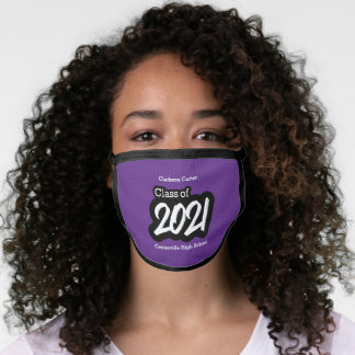 Purple Bold Brush Class of 2021 Face Mask