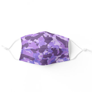 Purple Camo Camouflage  Glitter  for her Cute Adult Cloth Face Mask
