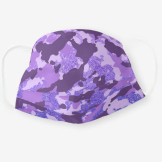 Purple Camo Camouflage  Glitter  for her Cute Cloth Face Mask
