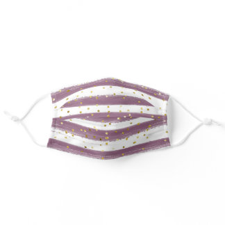 Purple Cheerful Stripes with Gold Accents Adult Cloth Face Mask