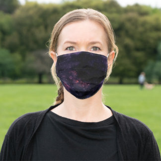 Purple clouds outer space illustration adult cloth face mask