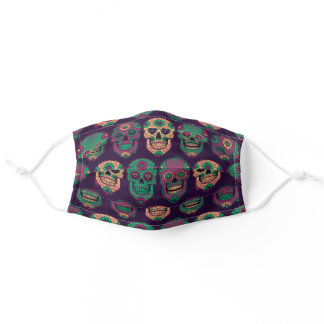 Purple Day of the Dead Sugar Skull Pattern Adult Cloth Face Mask