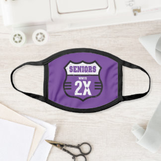 Purple Distressed Seniors Road Sign Face Mask