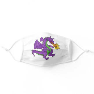 purple dragon throwing flames adult cloth face mask