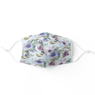 Purple Dusty Blue Floral Green Leaves Sky Blue Adult Cloth Face Mask
