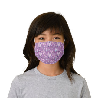 Purple floral flower girly cute pattern blooms kids' cloth face mask