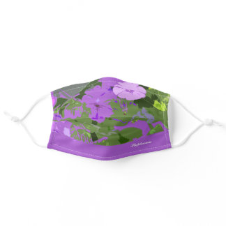 Purple Floral Petunia Flowers Abstract Custom Name Adult Cloth Face Mask