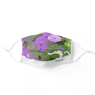 Purple Floral Petunia Flowers Custom Name Cute Adult Cloth Face Mask